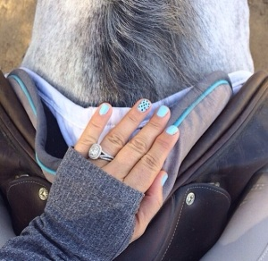 Ashlee Bond Clarke matches her nails to her Ogilvy. Photo Credit to OgilvyEquestrian on Instagram.