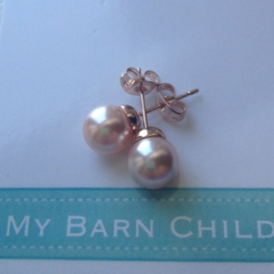 My Barn Child 18k rose gold pink pearls for the hunter or eq child rider!